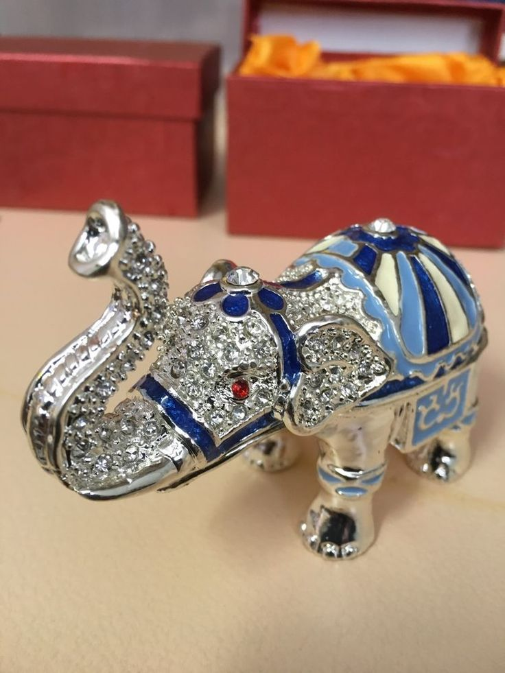 """""""Surprise Gift"""" Crystal  Elephant Trinket Box (packaged)"""