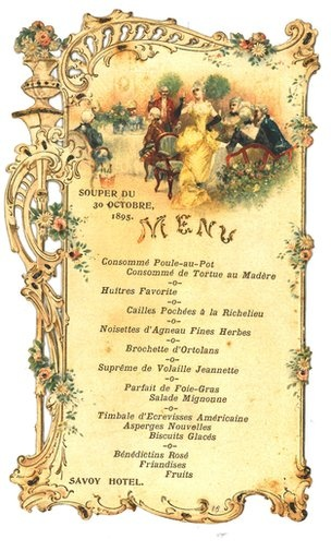 A very traditional old style wedding menu, 1895 (Writing - Props)