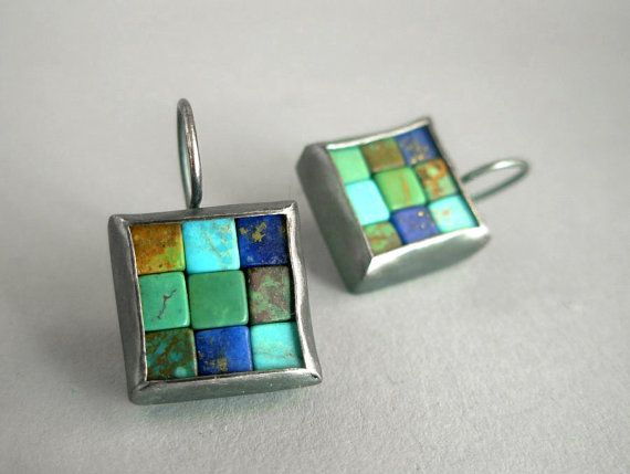 Mosaic Earrings  Lapis Lazuli Turquoise & Silver by Artesserae, $90.00