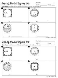 FREE Area of Shaded Regions of Circles Worksheet