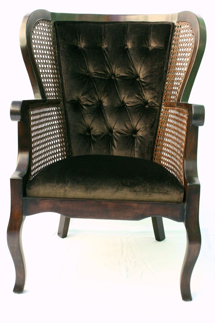 Vintage Regency Cane High Wingback Chair on Chairish.com