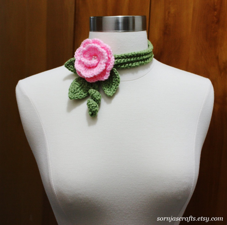 Pink Flower Crochet Lariat Necklace Neck wrap Headband. $13.00, via Etsy.
