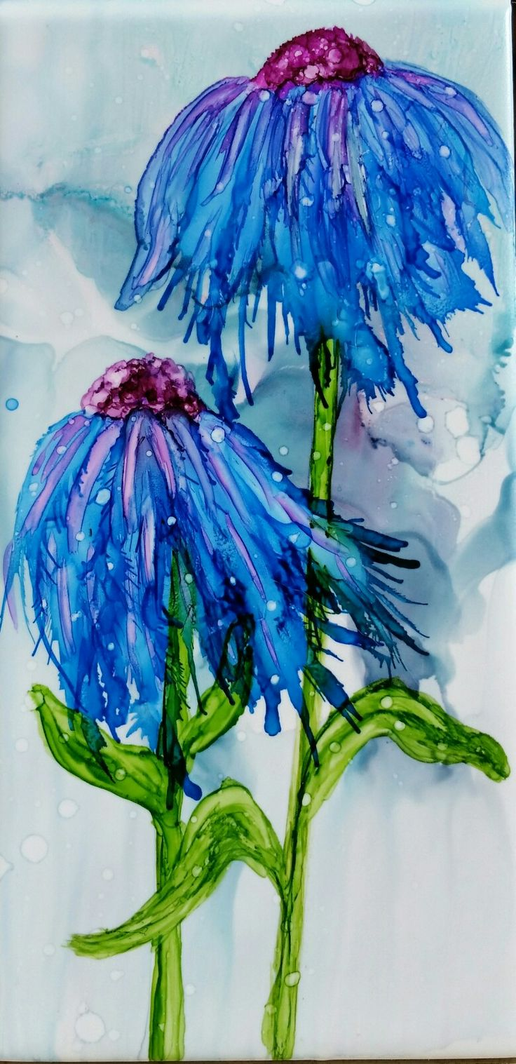 Flowers in alcohol ink on 8x4 tile by Tina