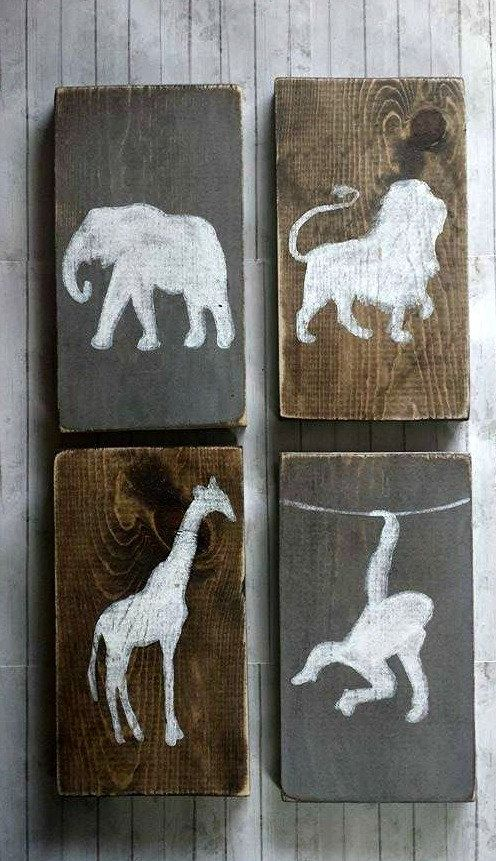 Lion Giraffe and Monkey Elephant Wall Decor Set by RusticLuvDecor