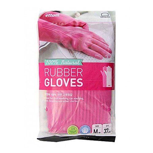 Lock & Lock 100% Natural Rubber Gloves, Pink, Medium