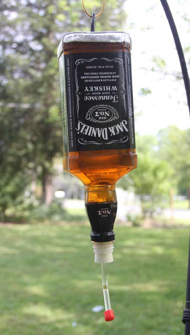 Fun DIY Ideas Made With Jack Daniels - Recipes, Projects and Crafts With The Bottle, Everything From Lamps and Decorations to Fudge and Cupcakes |  Humming Bird Feeder  |   http://diyjoy.com/diy-projects-jack-daniels