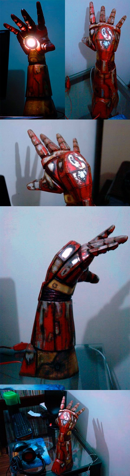 Now THIS is one cool desktop lamp! It is an Iron Man hand/gauntlet/arm that has been made to shed light on your desk via the repulsor weapon.