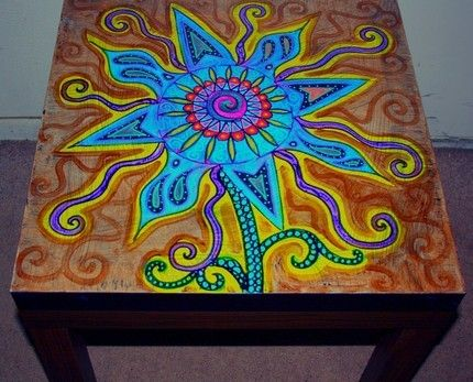 Funky Painted Coffee Tables | funky flower themed hand painted coffee table .free shipping.