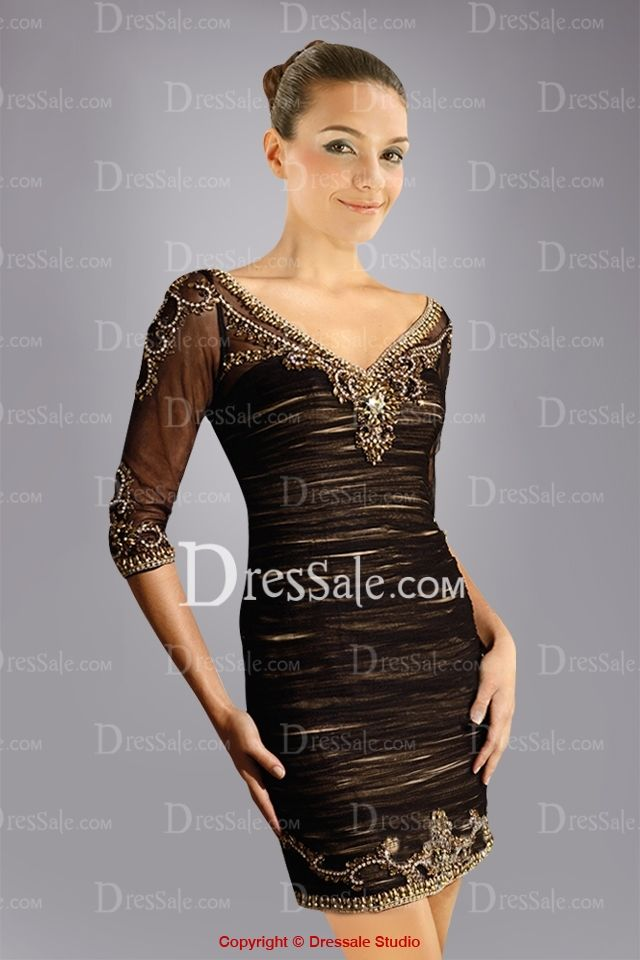 Appealing Mini Sheath Cocktail Dress with Shimmering Beadings