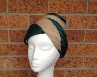 FABULOUS 1950s satin swirl ruffled wrap hat in deep forest green and beige. Satin & Chiffon wraparound pleated hat, made by Marie Therese. - Modball vintage - Etsy
