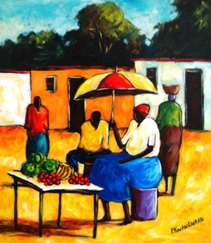 Acrylic Painting - Fruit Vendor by Peter Kwangware