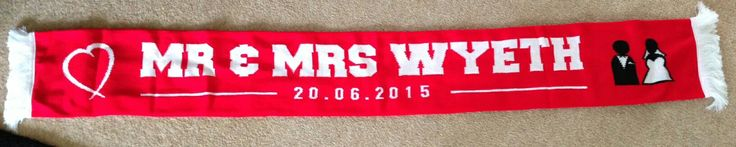 Wedding favour - personalised football scarf