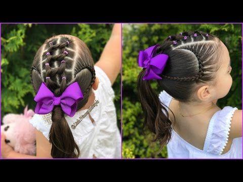 Peinados para niñas con ligas arcoiris  y trenzas pegadas|Peinados fáciles y rápidos  para niñas|LPH - YouTube