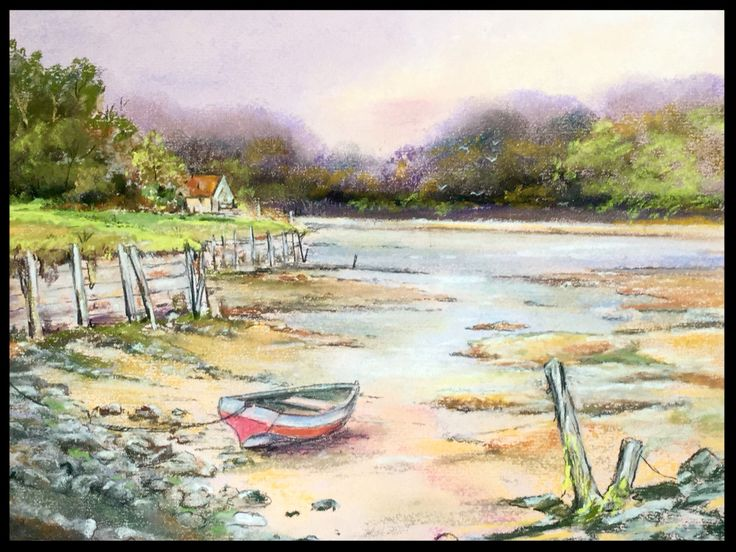 """Low  Tide""   pastel painting A4 size"