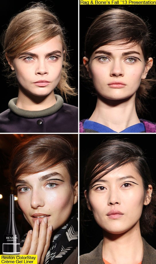 Side-swept bangs, low, chic chignons and a futuristic yet retro eyeliner look.