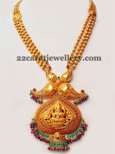 Jewellery Designs: Peacock and Lakshmi Antique Set
