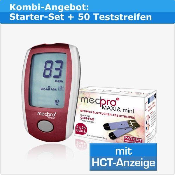 medpro® MAXI Kombi-Angebot: Blutzuckermessgerät mit HCT-Anzeige + 50 Teststreifen für 24,95 €