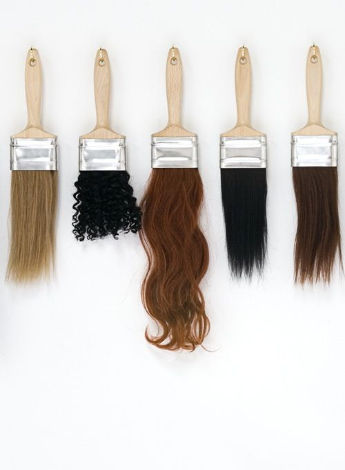 hair paint brush curly wavy straight natural blonde brunette brown black