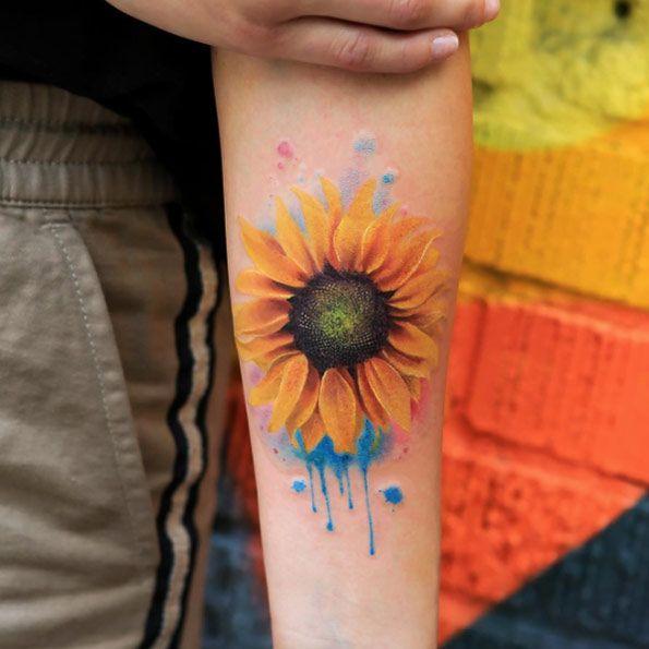 Breathtaking watercolor sunflower tattoo by Joice Wang