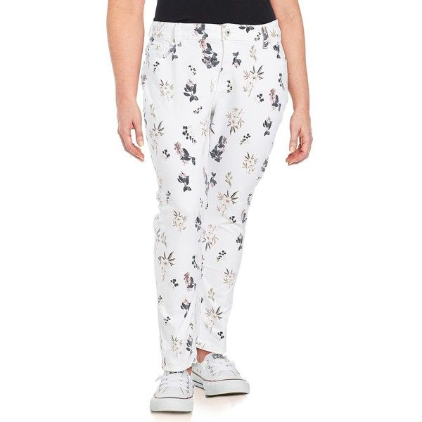 Lucky Brand Plus Plus Printed Straight-Leg Pants ($74) ❤ liked on Polyvore featuring plus size women's fashion, plus size clothing, plus size pants, white, zipper pants, white trousers, white zipper pants, five pocket pants and straight leg trousers