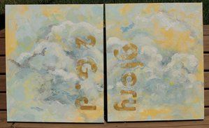 painting on 2 canvases: 'glory to G.d' by u-c-m