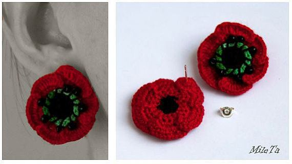 Crochet Earrings Red Poppy Flowers with Silver 925 Sticks BY MileTa HandMade
