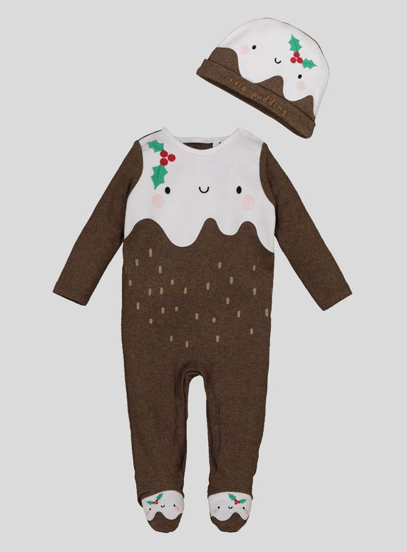 5a83f66f0ea0f Get your little one looking even sweeter in our festive two-piece Christmas  pudding outfit