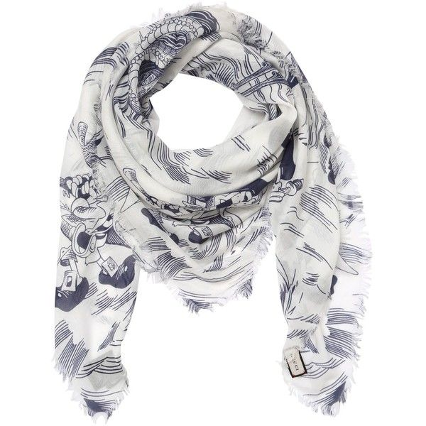 Gucci Men Sea Storm Printed Silk Modal Scarf ($365) ❤ liked on Polyvore featuring men's fashion, men's accessories, men's scarves, mens silk scarves and mens scarves