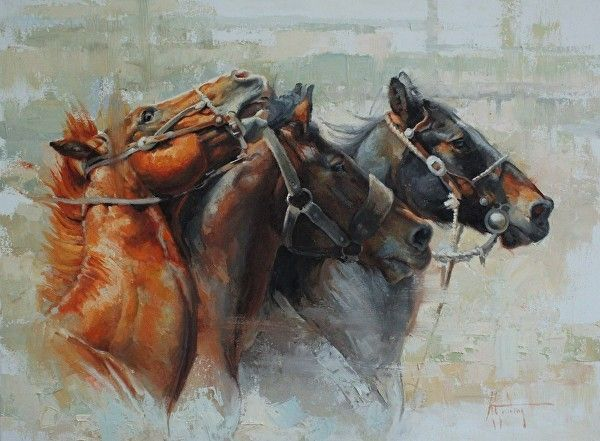 """""""Pickup Horses and a Bronc"""" by Abigail Gutting Oil ~ 18"""" x 24"""""""