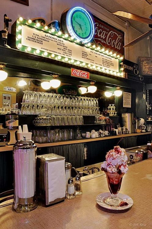 Old Fashioned Soda Fountain Drinks Ice Cream Shop This