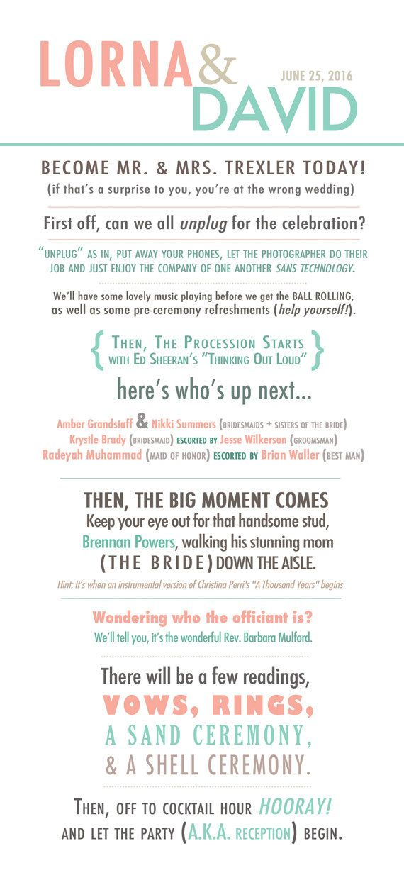 Funny Wedding Program Story Style By MaKenzieNoelle