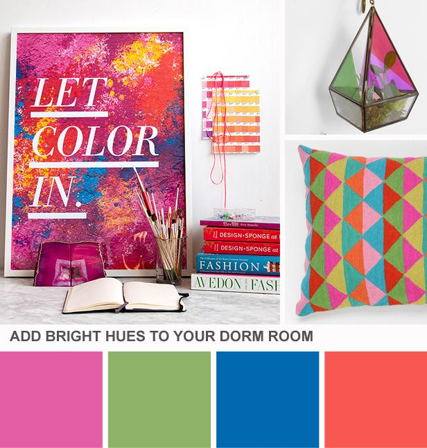 Tuesday Huesday: Start College on a Bright Note (http://blog.hgtv.com/design/2013/08/06/tuesday-huesday-start-college-on-a-bright-note/?soc=pinterest)