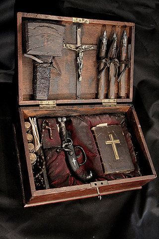 Vampire hunting kit.  I come across these every once in awhile.  A good one is complete with cross, bible, containers for holy water and garlic, as well as a pistol, silver bullets and wooden stakes. Awesome.