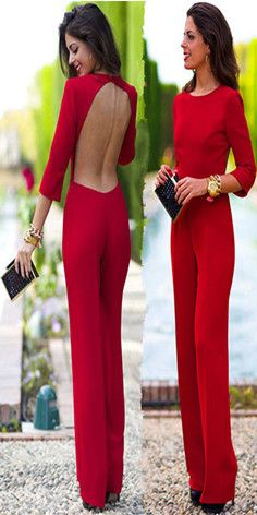 Sexy Solid Backless 3/4 Sleeve Round Neck Jumpsuit #red