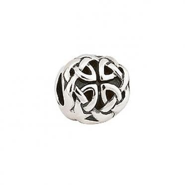 Celtic Knot Bead S80097    Sterling Silver bead with celtic knots      All beads in this collection will fit all leading brands of bracelets.      Made by Solvar Jewellery in Dublin, Ireland.