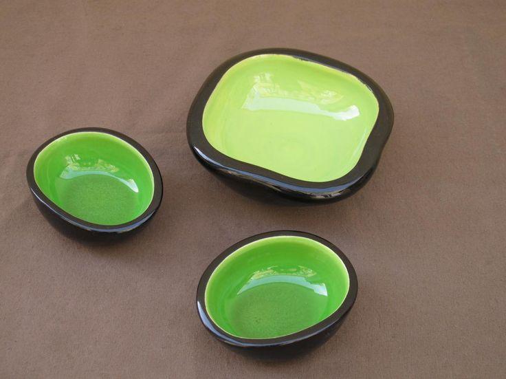 Three Coupe De Sevres Keramos Apple Green, Curiosités d'Ainay, Proantic