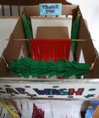 Home made Car wash...would be cute to make something for the backyard with the sprinkler for the little tykes car/bikes to go through