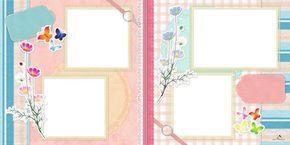 Plantilla Scrapbook 29x58 para la Creación de Foto Libros - Imagen Fondo Mariposas de Colores. Dispone de cuatro casillas para insertar fotografías.