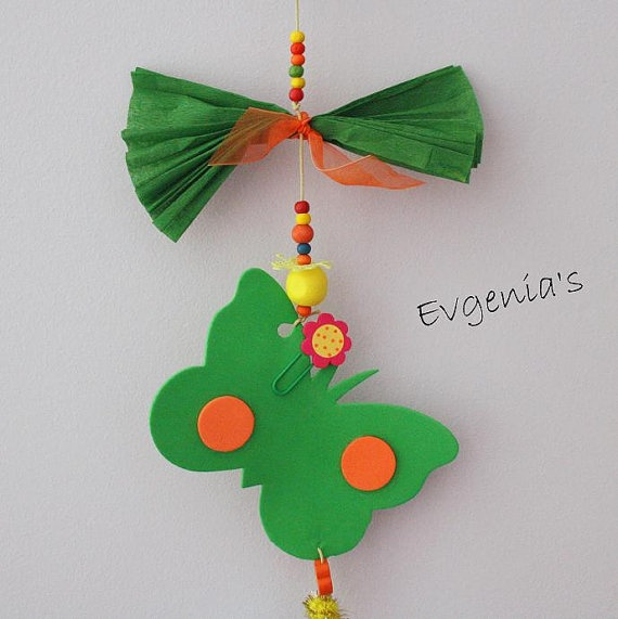 Handmade Green Car and Butterfly with by EvgeniasOrnaments on Etsy, $18.00