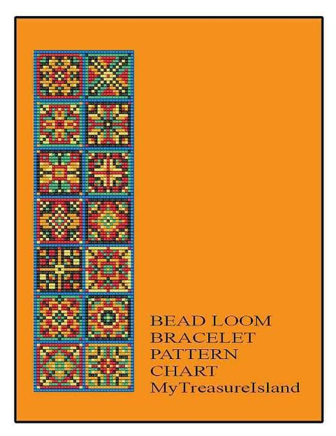 Bead Loom Bracelet Quilt Style Multicolored Squares Tiles Shiny & Matte Finishes Pattern PDF