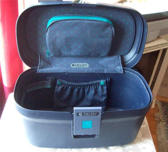 Makeup Train Case by Delsey Paris France Navy Oval Combination Lock