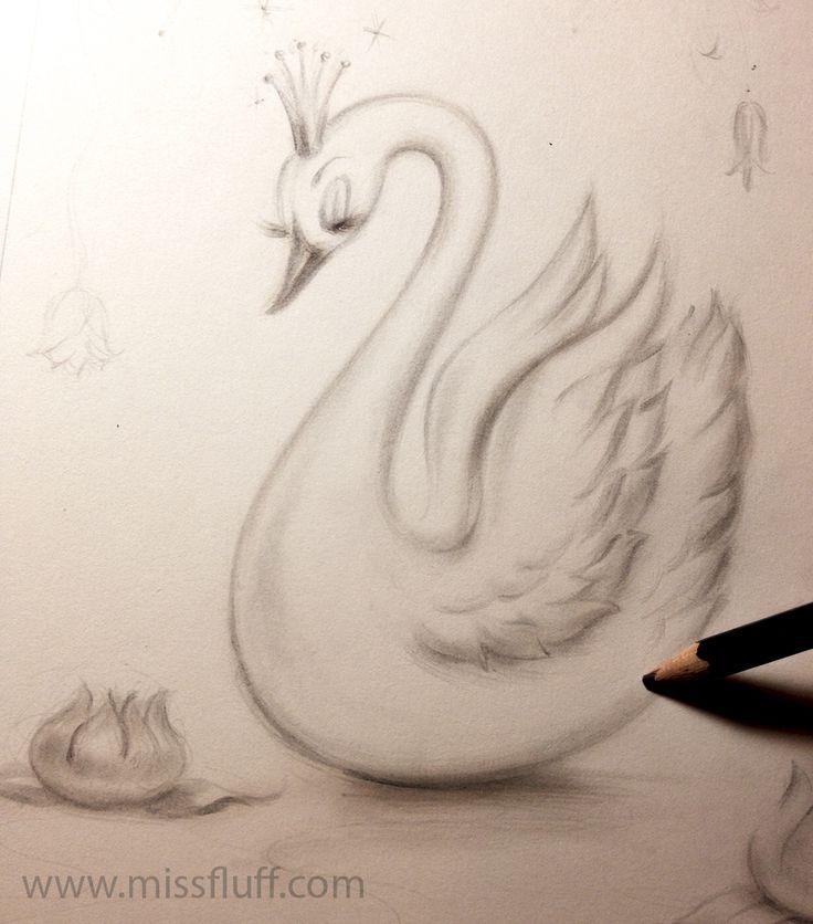 Swan with a tiara ✨Drawing in progress. Original Art by Claudette Barjoud, a.k.a Miss Fluff. www.missfluff.com #swans #fairytaleart #retroart #vintageswan #missfluff