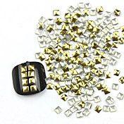 [NewYearSale]300PCS 3D Золотой квадрат сплава Nail Art Золотые и Серебряные украшения