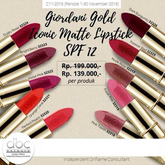 Temukan dan dapatkan Giordani Gold Matte Lipstik hanya Rp 139.000 di Shopee sekarang juga! http://shopee.co.id/claudyafm/88899521 #ShopeeID #kosmetik #makeup  Line: Claudia.oriflame BBM: 597B4C7E WA: 081210851786