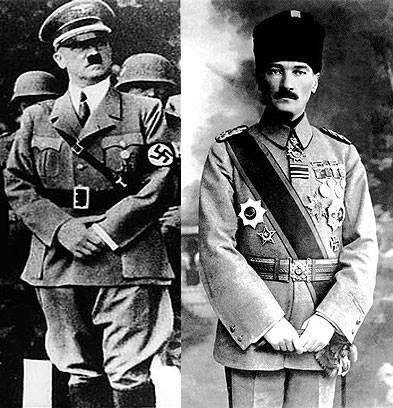 "Hitler and Ataturk. """"The similarity of the genocidal methods employed by the Nazis and the Ottomans is also inescapable. Parallels between Ottoman and Nazi theory and practice include the central place of race in the self-conception of the fascist elites and the notion of relocating ethnic minorities to reservations."" -Hannibal Travis (author of Genocide in the Middle East: The Ottoman Empire, Iraq and Sudan, More quotes: http://www.greek-genocide.net/index.php/quotes"