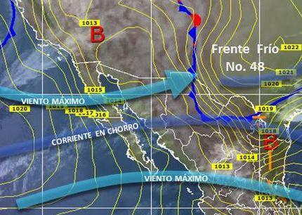 PRONÓSTICO DEL TIEMPO: No se pronostican lluvias para las próximas horas, sin embargo, una corriente en chorro favorece la propagación de nublados sobre el estado de Sonora, y el ingreso de un canal de baja presión por el noroeste del país provocará vientos de hasta 50 kilómetros por hora. Según informa CONAGUA, continuarán los amaneceres fríos, mientras que en el día se registrarán algunas temperaturas máximas a 30° centígrados en el sur del estado.