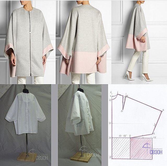 Color block coat. Simple pattern.