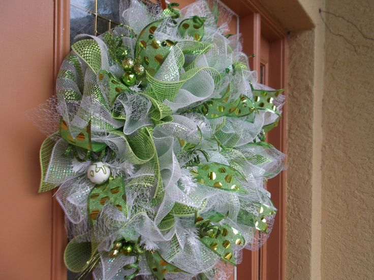 Deco Mesh Green and White Christmas Ruffle Wreath by DecoDzigns, $115.00  deco mesh  Pinterest ...