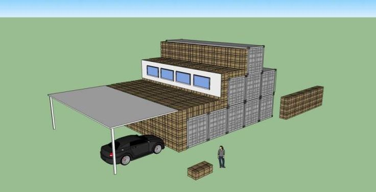 Container house with strawbale / mud plaster insulation