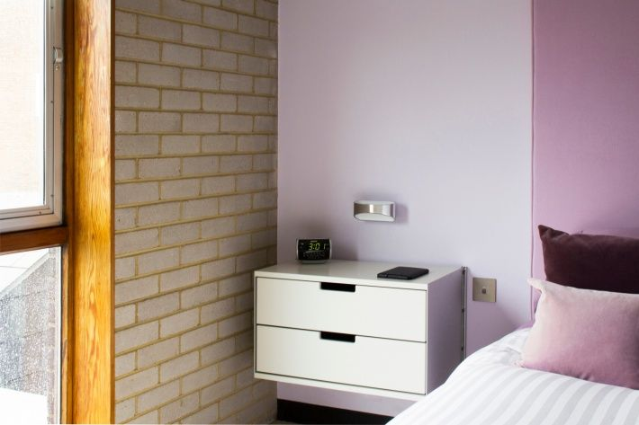 Two drawers for tidy storage: a neat solution as a bedside table.
